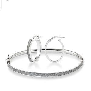 Helzberg Diamond Cut Hoop Earring & Bangle Set